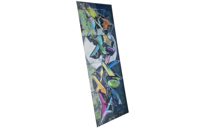 Glasgarderobe Felix mit Graffiti-Motiv, 50 x 125 cm