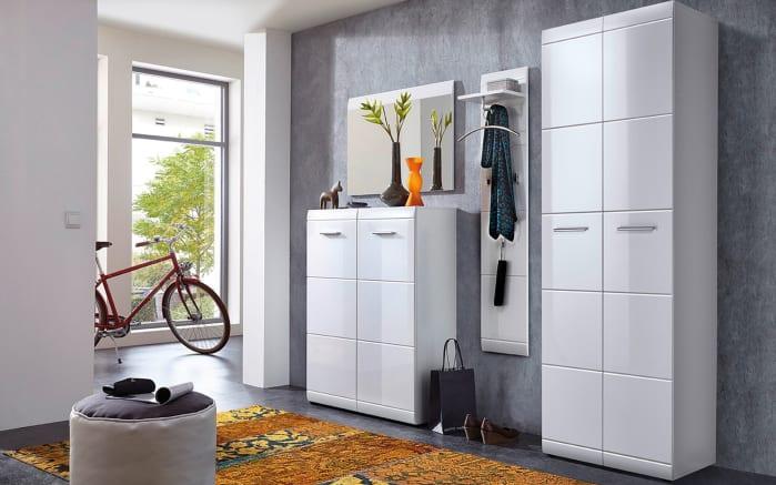 Garderobenschrank Adana in weiß Hochglanz, 59 x 197 x 37 cm