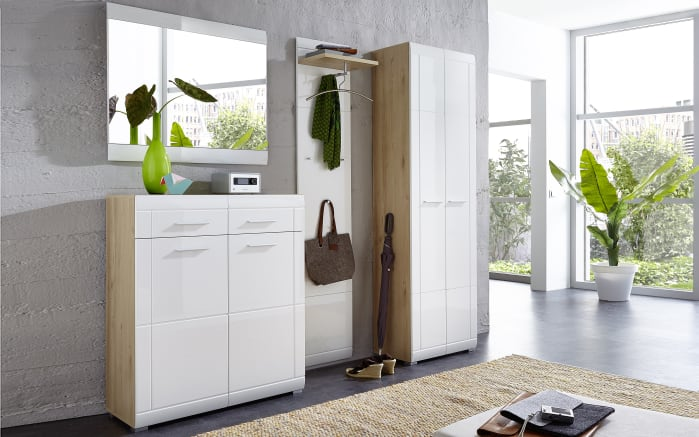 Garderobenschrank GW-Neapel in Edelbuche-Optik/weiß