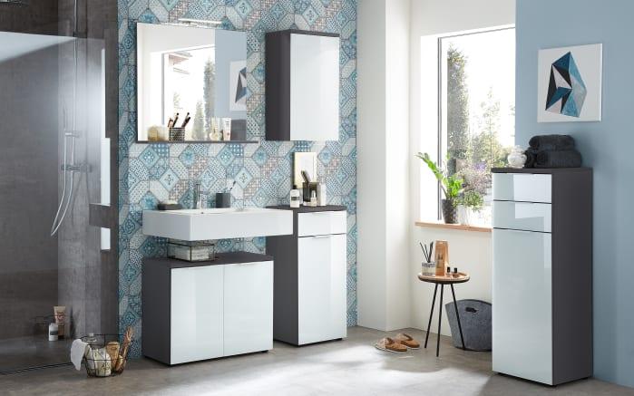 Waschbeckenunterschrank Pescara in weiß Glas/graphit