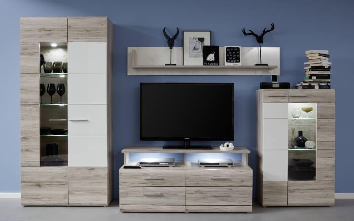 wohnwand apollo in sandeiche optik wei hochglanz online bei hardeck kaufen. Black Bedroom Furniture Sets. Home Design Ideas