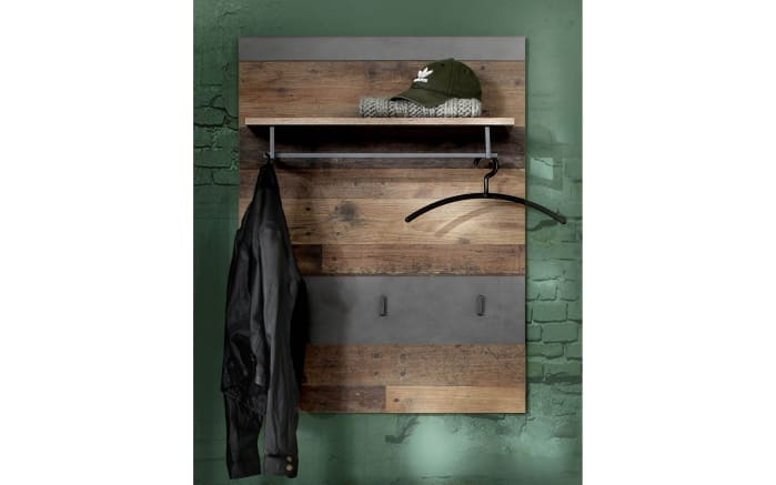 Garderobenpaneel Indy in Old Wood-Nachbildung/graphit-03