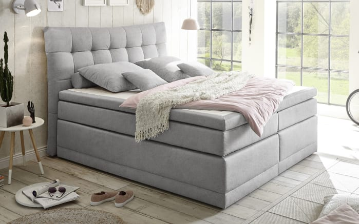 Boxspringbett Darwin 2 in Soro light grey