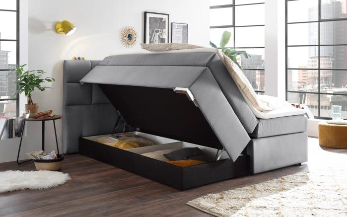 Boxspringbett Ravello 5 in grau, inklusive Bettkästenund Komfortschaumtopper