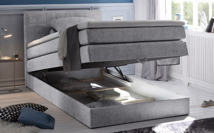 Boxspringbett Hawaii 2 in light grey, mit Bettkasten, inklusive Komfortschaum-Topper-02