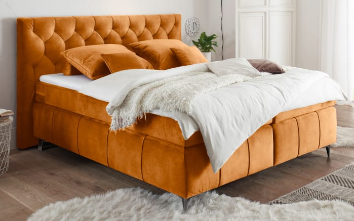 Boxspringbett Pembroke 8 in amber, mit 7-Zonen-Tonnentaschenfederkernmatratzen-01