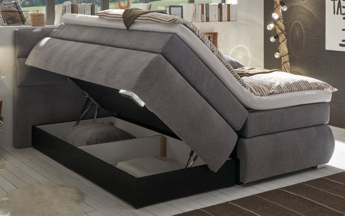 Boxspringbett Bologna 8 in grey, mit Bettkasten, inklusive Komfortschaum-Topper