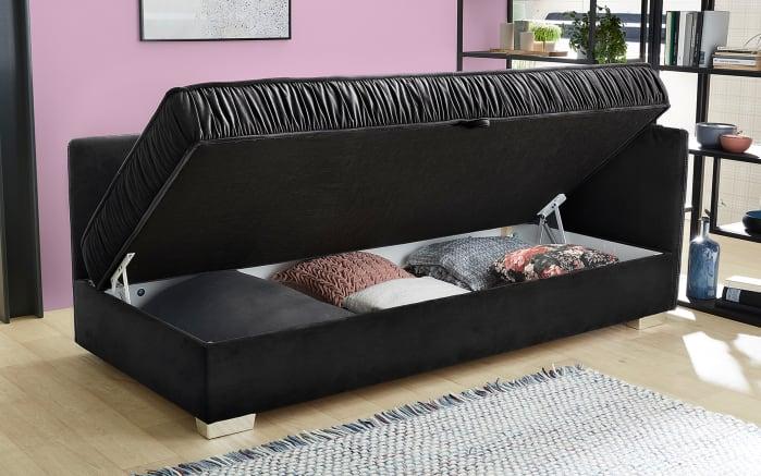 Einzelliege Dana in schwarz, mit Bettkasten-03