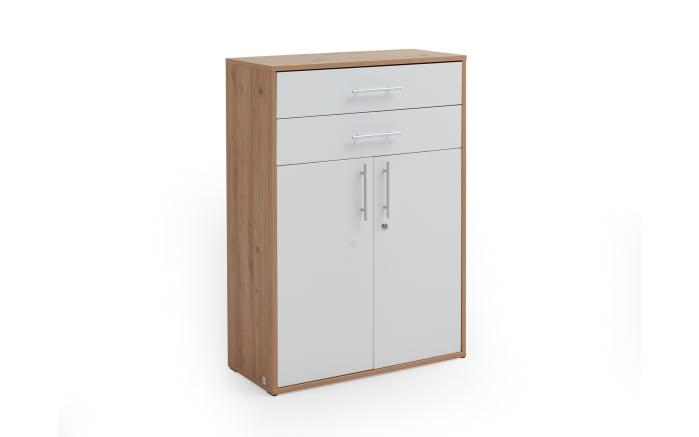 Schrank 7005 in Artisan Oak Nachbildung-weiß Matt, ca. 111 cm hoch-01