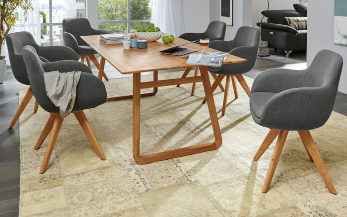 Stuhlgruppe Tavia in grau Eiche massiv online bei Hardeck kaufen