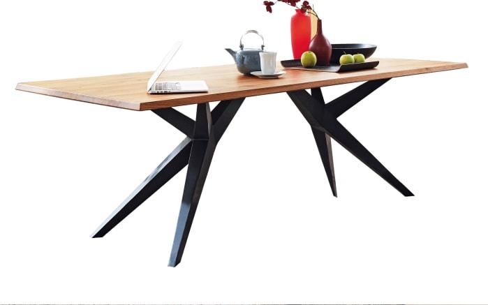 Design-Tisch Tamina aus Charaktereiche massiv/Eisen schwarz
