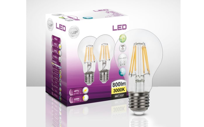 LED-Leuchtmittel AGL Filament, 6,5 W / E27, 2er Pack