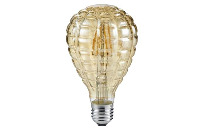LED-Filament Globe geriffelt in beige getönt, 4 W / E27-01
