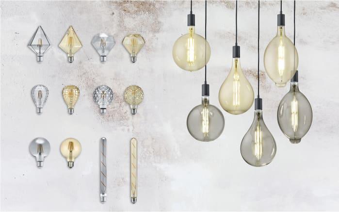 LED-Filament Globe geriffelt in beige getönt, 4 W / E27
