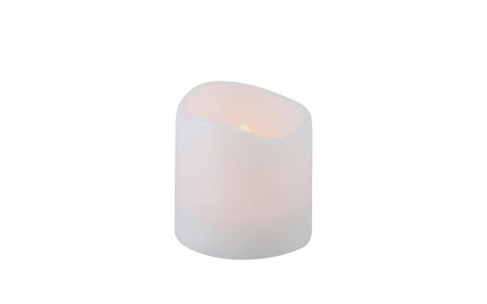 Solar Kerze in weiß mit Flackereffekt, 10 cm