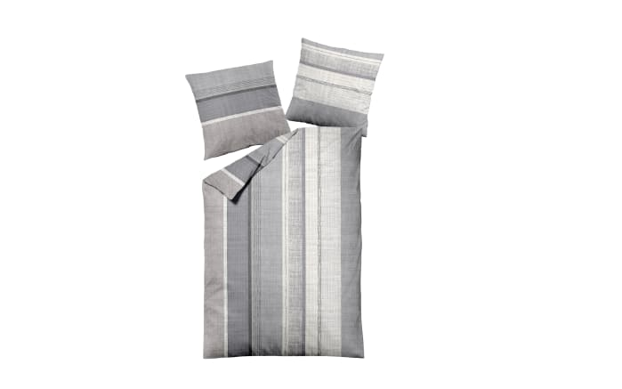Bettwäsche Feinbiber in creme/grau, 135 x 200 cm
