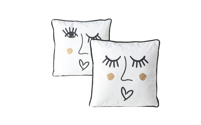 Kissen Glamy in weiß/schwarz, 45 x 45 cm