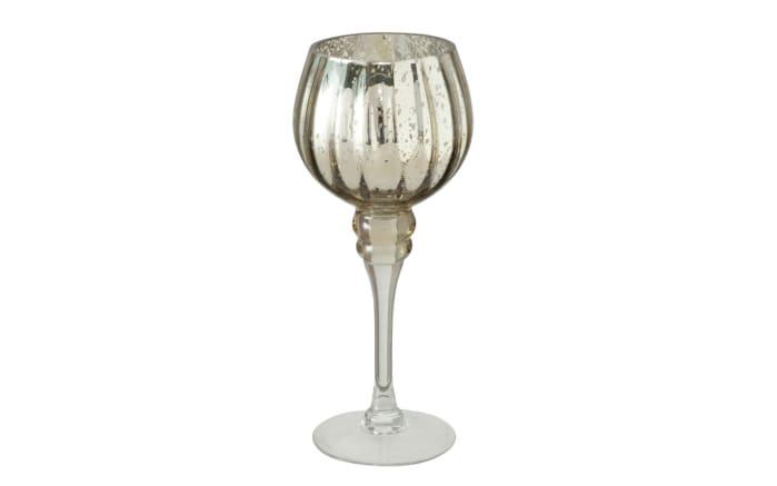 Windlicht Minou aus Glas in champagner lackiert, 30 cm, 2-teilig-03