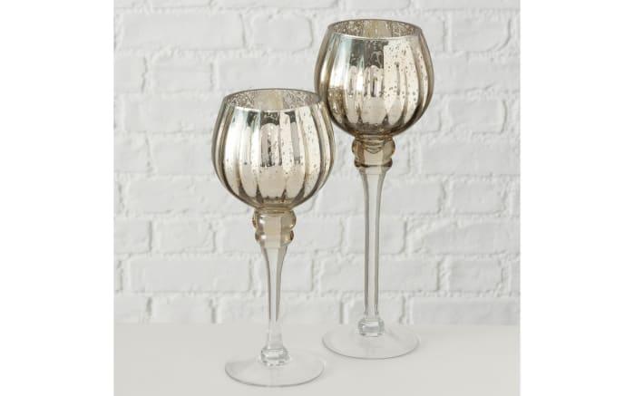 Windlicht Minou aus Glas in champagner lackiert, 30 cm, 2-teilig-02