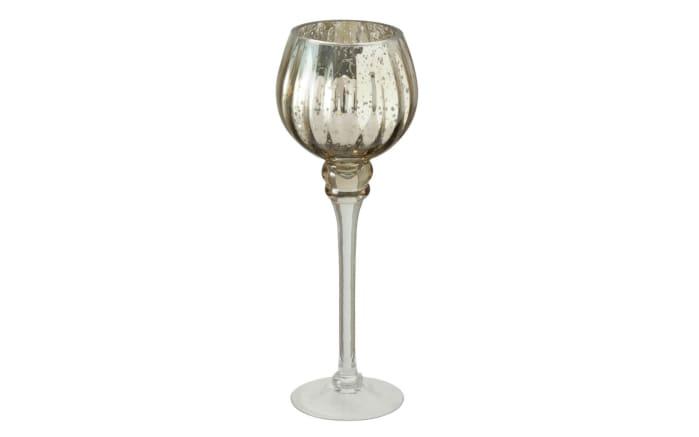 Windlicht Minou aus Glas in champagner lackiert, 30 cm, 2-teilig-04