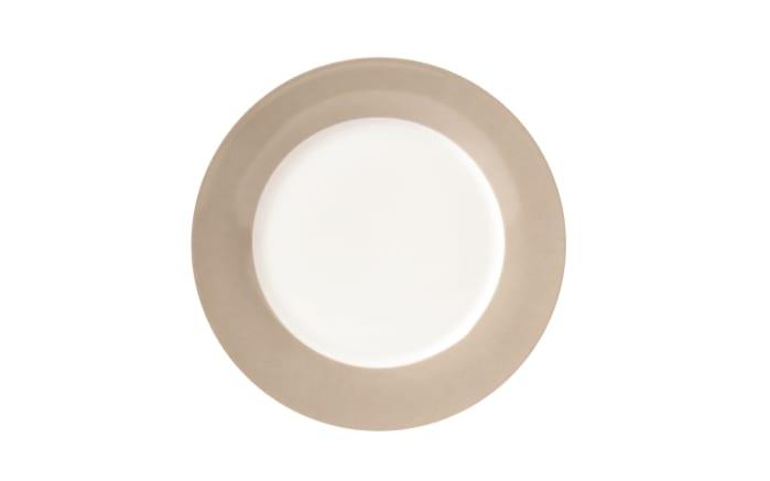Teller Vario flach in weiß mit taupe Rand, 26,5 cm