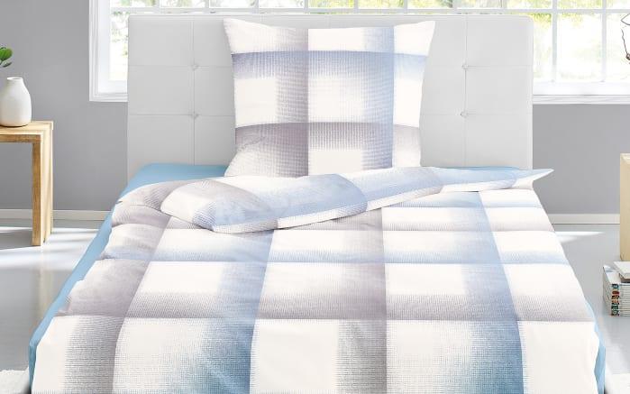 Bettwäsche Mako Satin In Blau Weiß 135 X 200 Cm