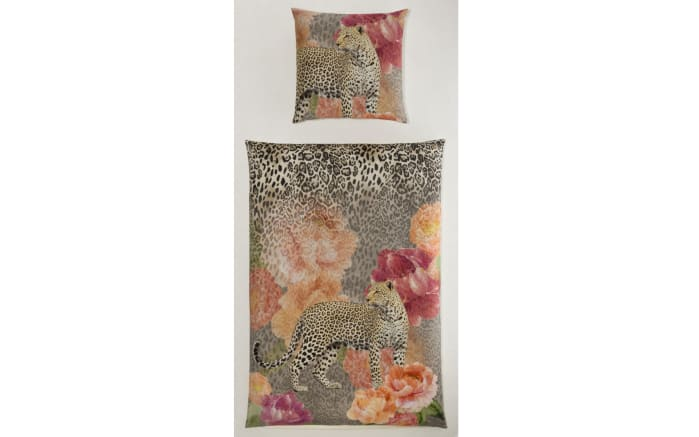 Bettwäsche in Satin und Leoparden Design, ca. 200 x 200 cm-01