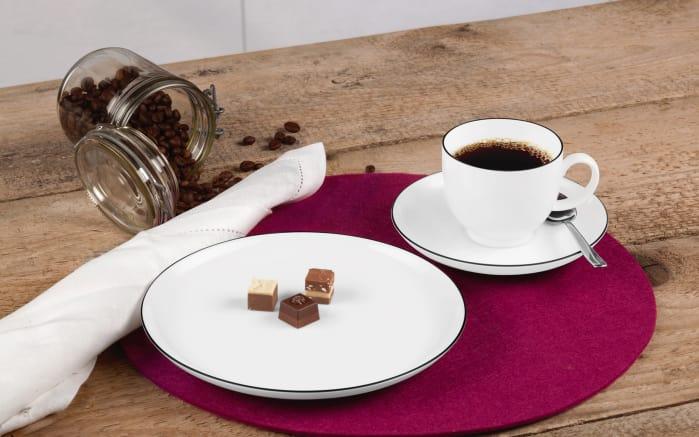 Kaffeeservice Lido Black Line in weiß, 18-teilig