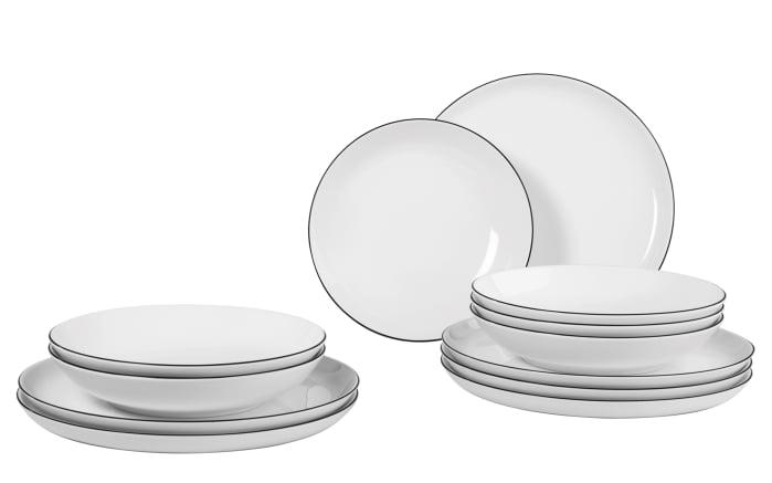 tafelservice lido black line in wei 12 teilig online bei hardeck kaufen. Black Bedroom Furniture Sets. Home Design Ideas