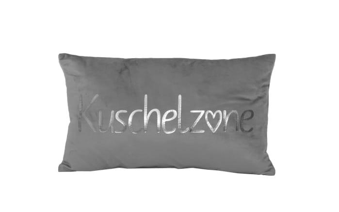 Dekokissen Kuschelzone in grau/silber, 30 x 50 cm