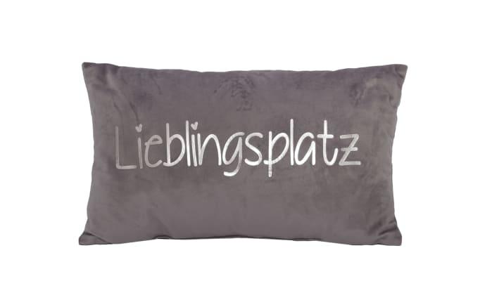 Dekokissen Lieblingsplatz in grau/silber, 30 x 50 cm