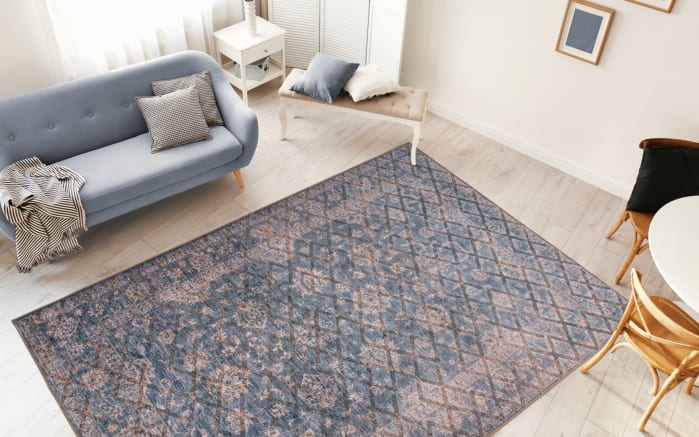 Teppich Antique 225 in blau/gold, 80 x 150 cm