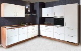 Einbauküche Flash 455 in seidengrau Hochglanz, Bauknecht-Geschirrspüler BCIO3T121PE