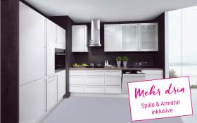 Einbauküche Lux in magnolia Hochglanz, Siemens-Geschirrspüler