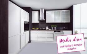 Einbauküche Lux in magnolia Hochglanz, Neff-Geschirrspüler
