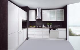 Einbauküche Lux in magnolia Hochglanz, AEG-Geschirrspüler FSB31600Z