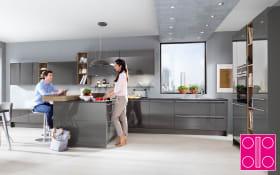 Einbauküche Lux in schiefergrau, Siemens-Geschirrspüler