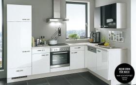 Einbauküche Flash in Lacklaminat Hochglanz weiß, Siemens-Geschirrspüler SN514S00AE