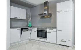 Einbauküche Flash in Lacklaminat seidengrau, AEG-Geschirrspüler