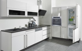 Einbauküche Flash in Lacklaminat Hochglanz weiß