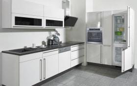 Einbauküche Flash in Lacklaminat Hochglanz weiß, Bauknecht Geschirrspüler