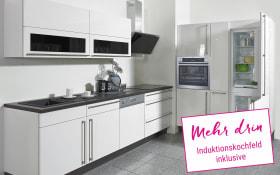 Einbauküche Flash in Lacklaminat Hochglanz weiß, Neff Induktionskochfeld