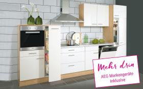 Einbauküche Nobilia in weiß Hochglanz, AEG-Geschirrspüler