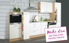 Einbauküche Nobilia in weiß Hochglanz, Neff Slide & Hide Backofen