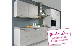 Einbauküche Riva in grau, Neff Slide & Hide Backofen