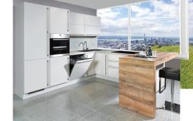 Einbauküche Flash in seidengrau Hochglanz, Siemens Geschirrspüler + Steinspüle