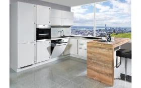 Einbauküche Flash in seidengrau Hochglanz, Steinspüle und Siemens Geschirrspüler