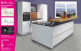 Einbauküche Lux in Hochglanz alpinweiß, Marken-Spüle
