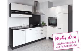 Einbauküche Focus in Lack Hochglanz weiß, AEG Backofen