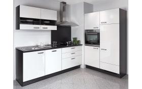 Einbauküche Focus, Lack Ultra-Hochglanz weiß, inklusive Elektrogeräte, inklusive Siemens Geschirrspüler